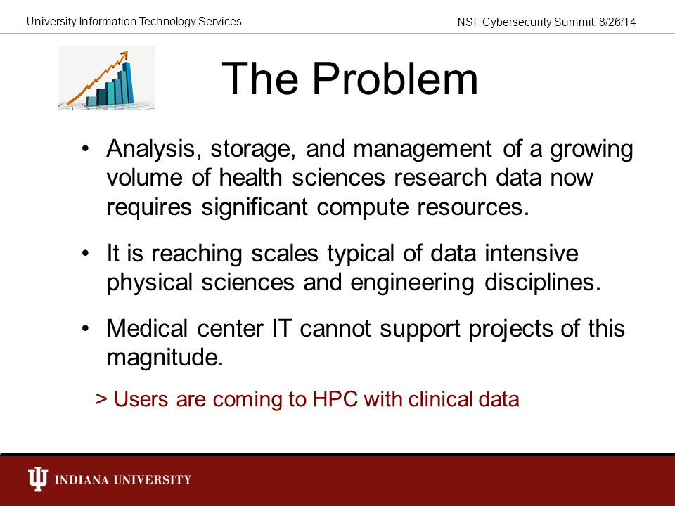 The Problem Analysis, storage, and management of a growing volume of health sciences research data now requires significant compute resources.