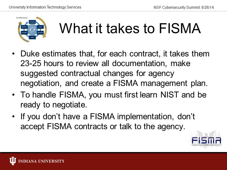 What it takes to FISMA