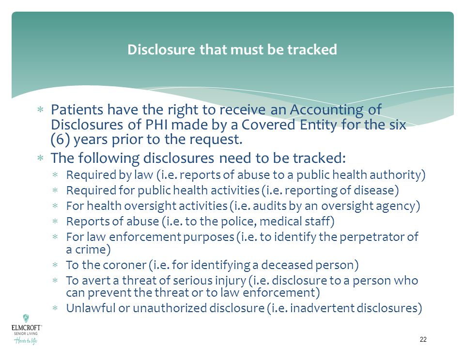 Disclosure that must be tracked