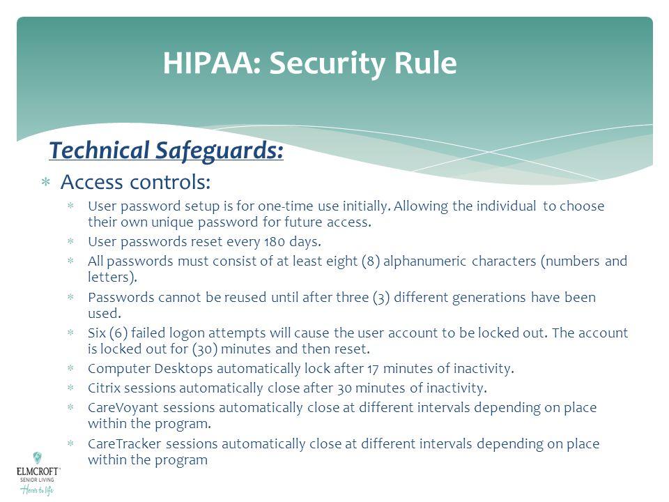 HIPAA: Security Rule Technical Safeguards: Access controls: