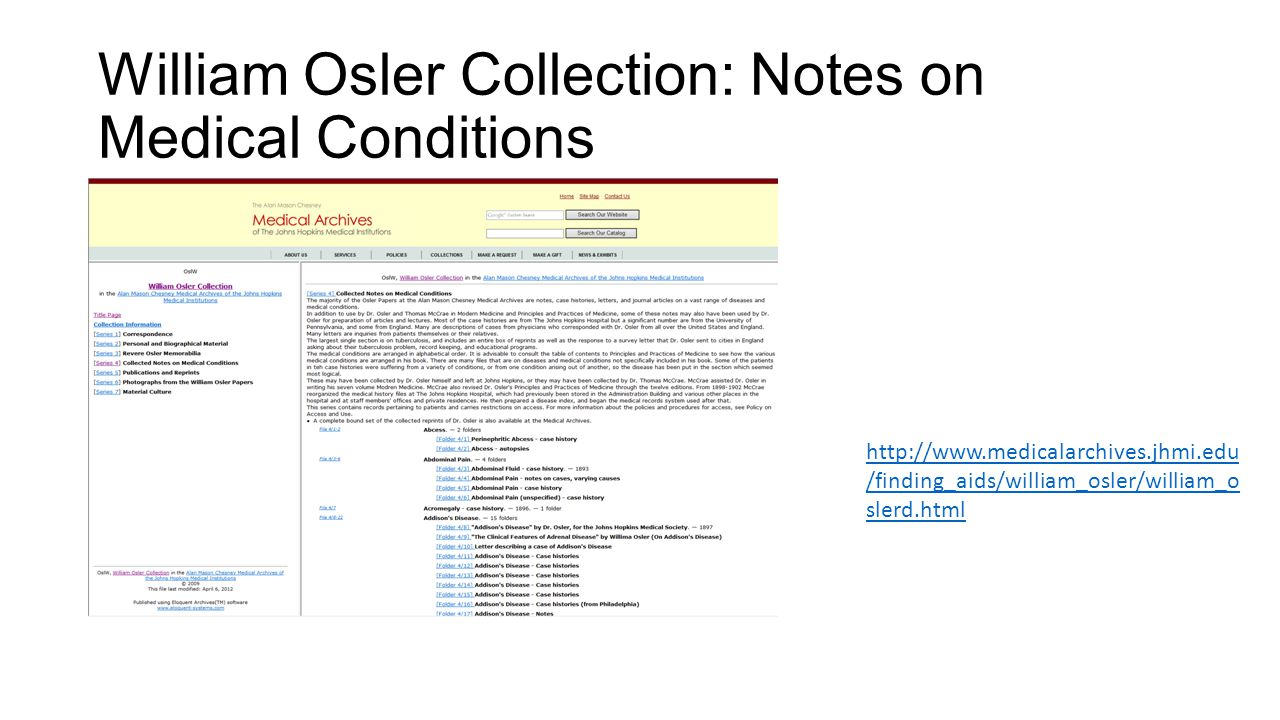 William Osler Collection: Notes on Medical Conditions