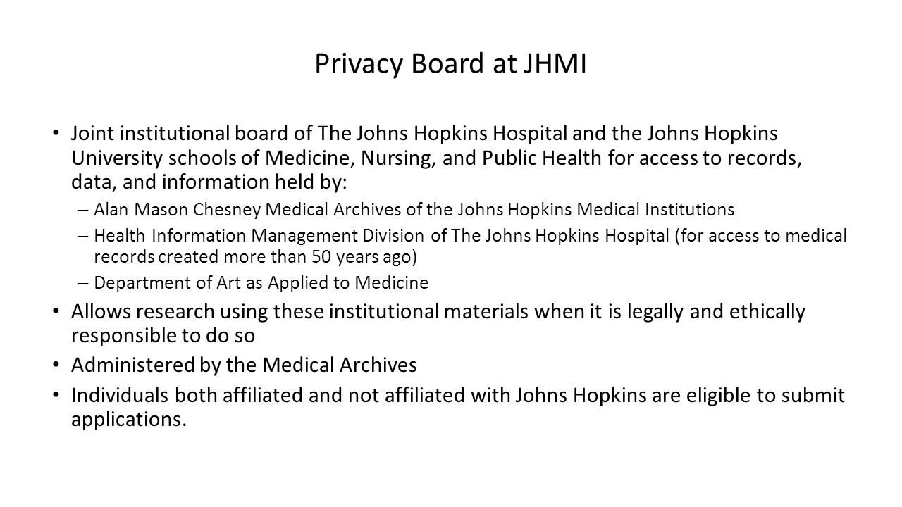 Privacy Board at JHMI
