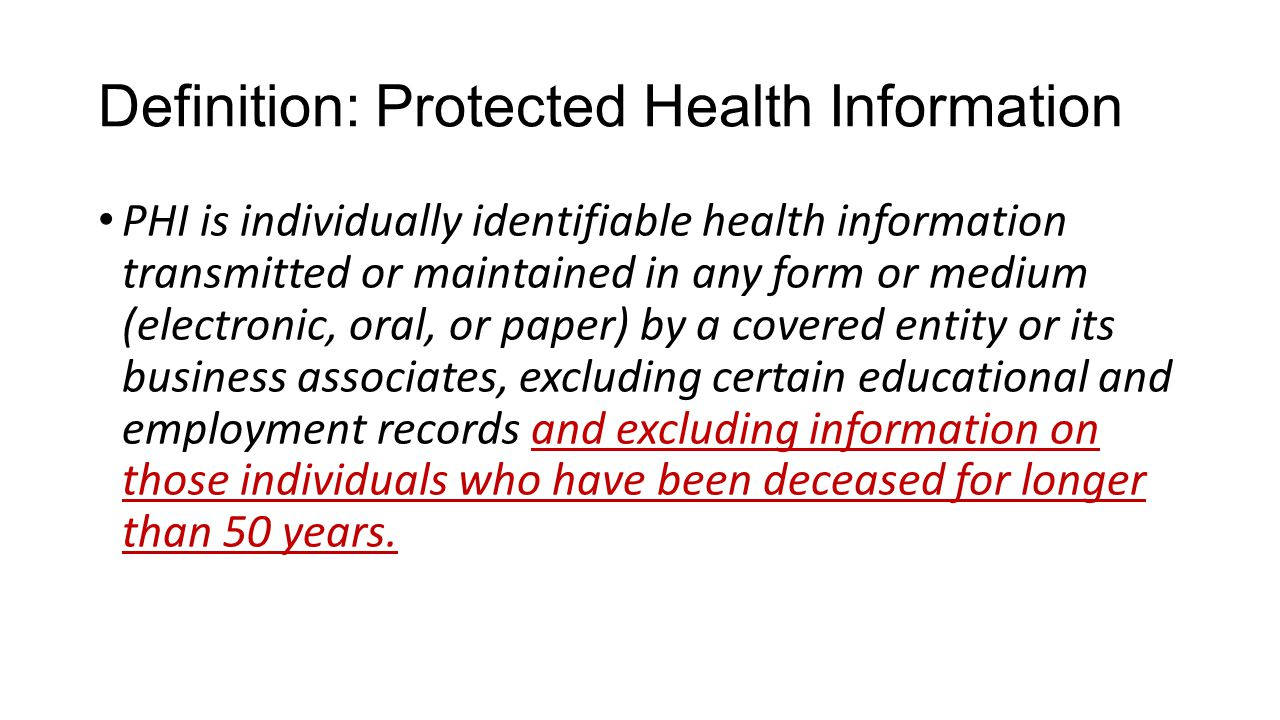 Definition: Protected Health Information