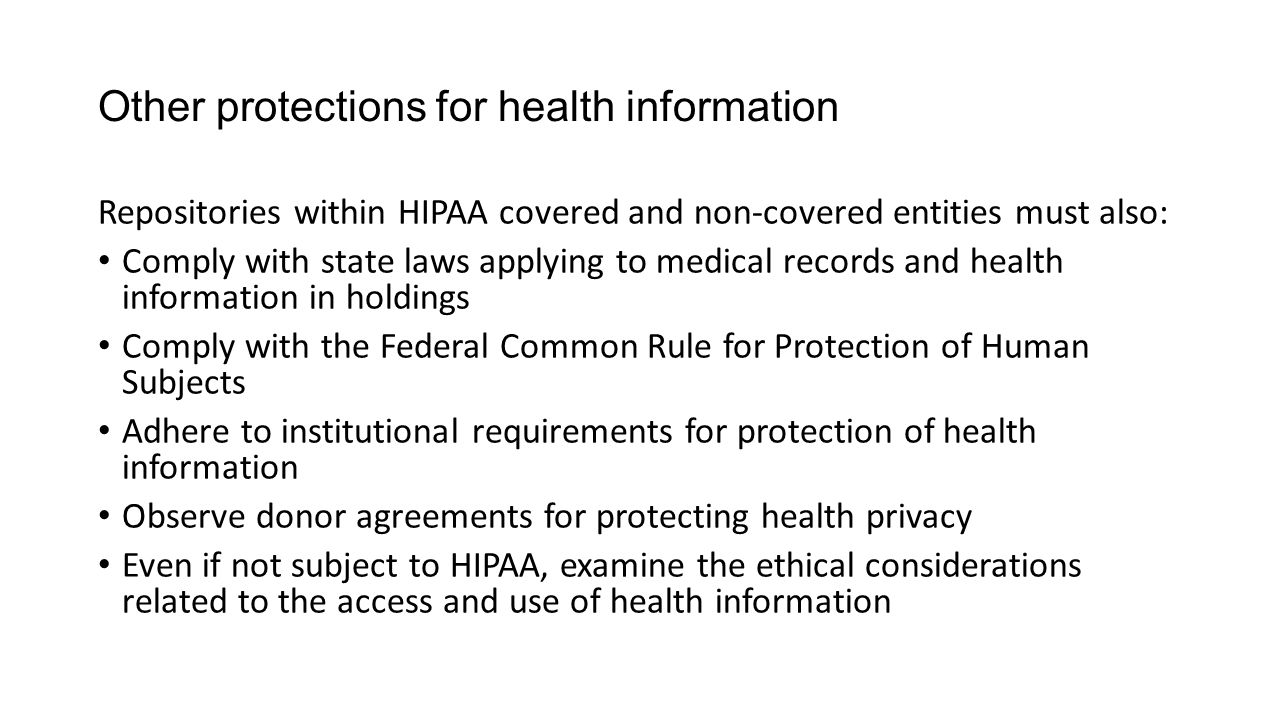 Other protections for health information