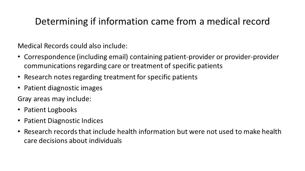 Determining if information came from a medical record