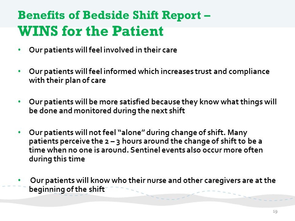Benefits of Bedside Shift Report – WINS for the Patient