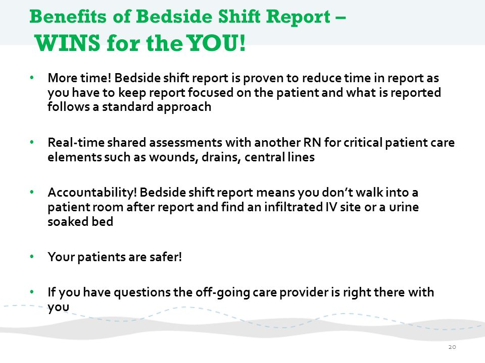 Benefits of Bedside Shift Report – WINS for the YOU!