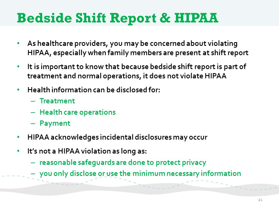 Bedside Shift Report & HIPAA