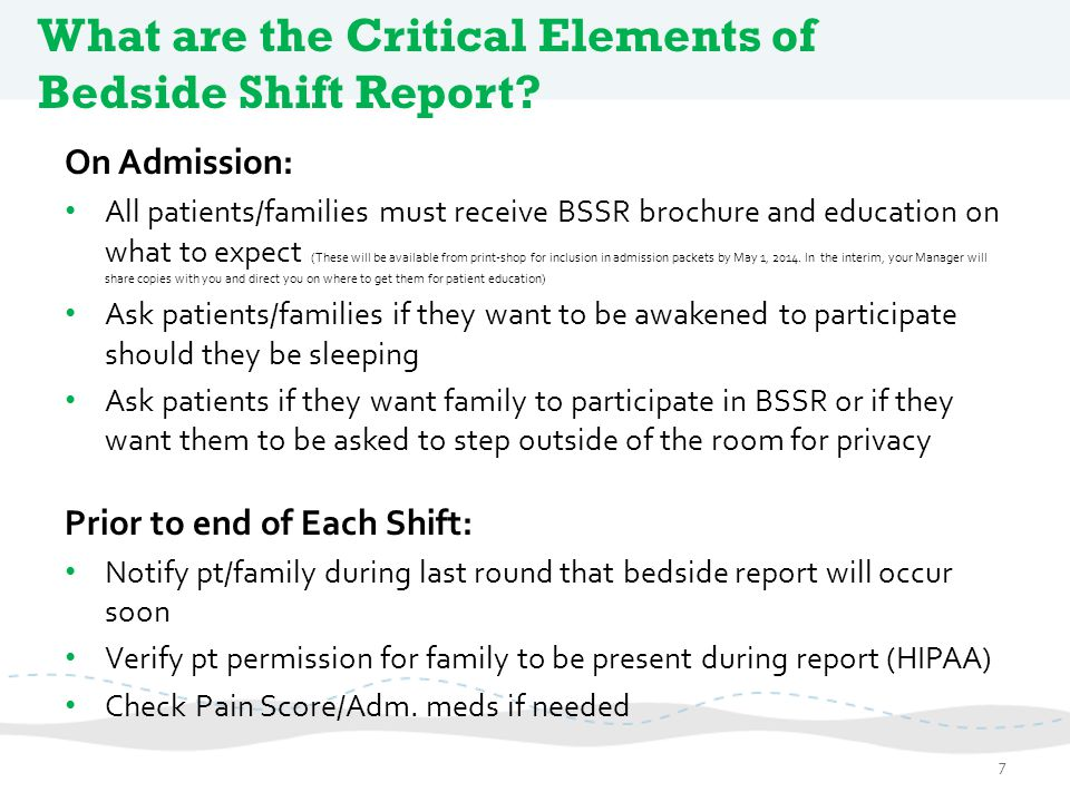 What are the Critical Elements of Bedside Shift Report