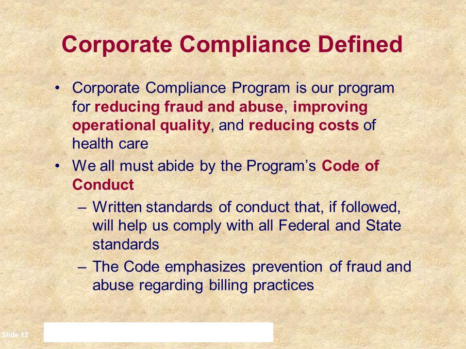 Corporate Compliance Defined