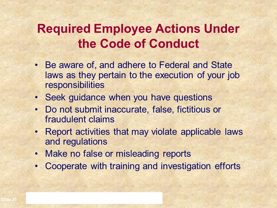 Required Employee Actions Under the Code of Conduct
