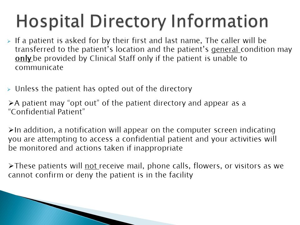 Hospital Directory Information