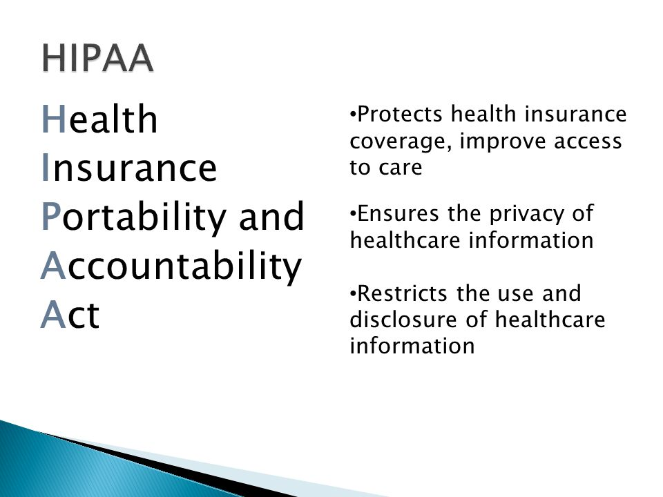 Health HIPAA Insurance Portability and Accountability Act