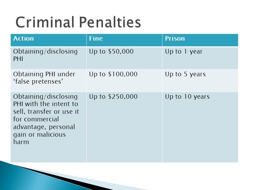 Criminal Penalties Action Fine Prison Obtaining/disclosing PHI