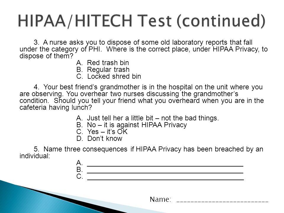 HIPAA/HITECH Test (continued)