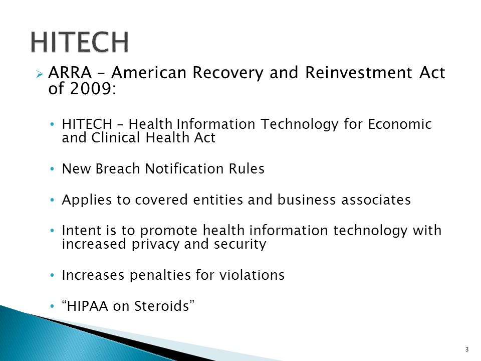 HITECH ARRA – American Recovery and Reinvestment Act of 2009: