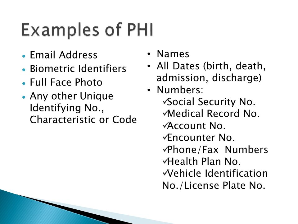 Examples of PHI Names Email Address All Dates (birth, death,