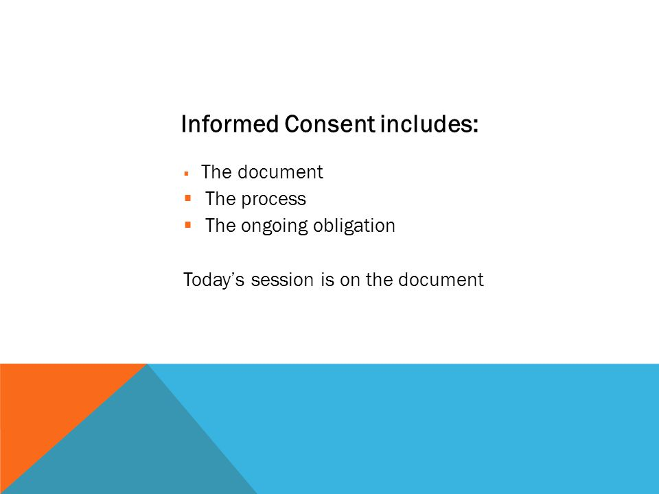 Informed Consent includes:
