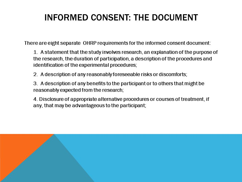 Informed Consent: The Document