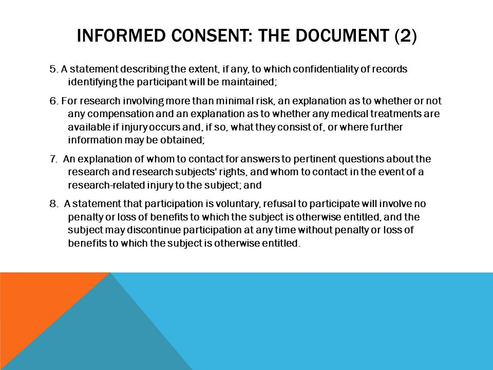 Informed Consent: The Document (2)