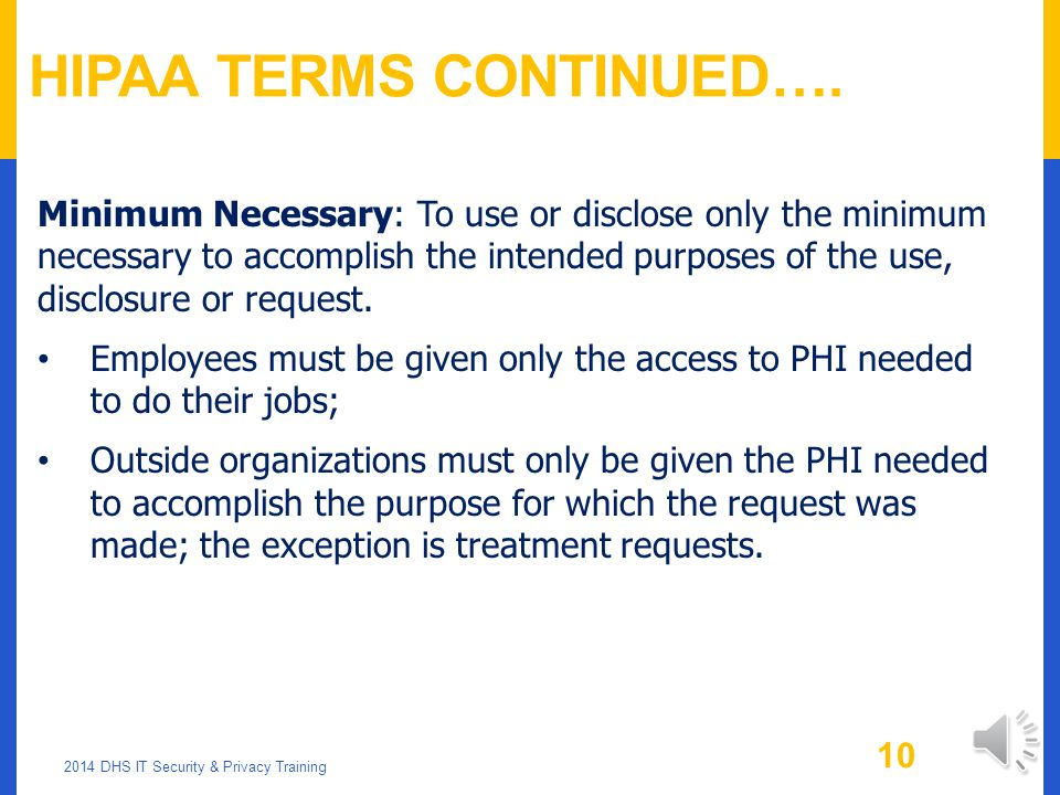 HIPAA Terms Continued….