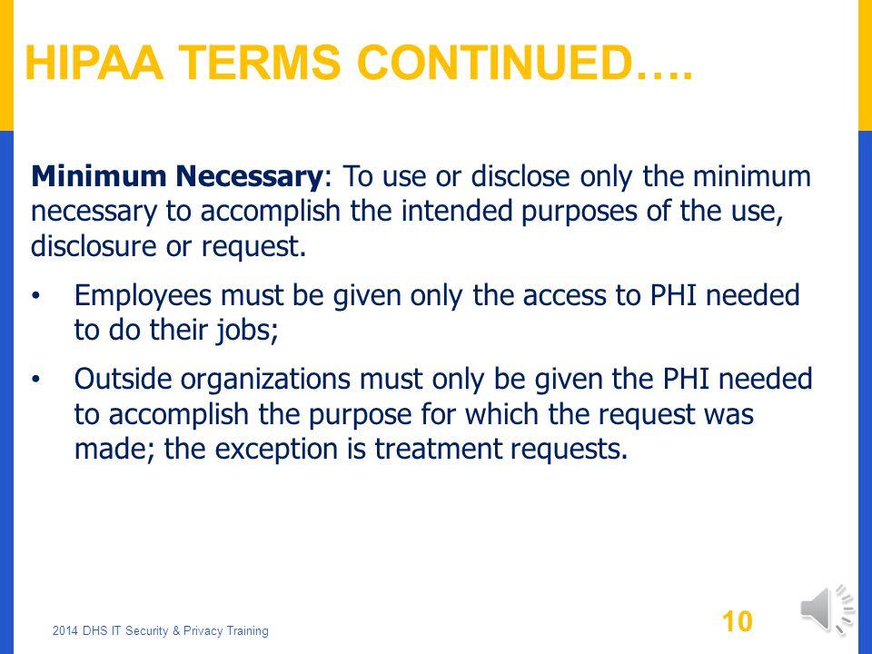 HIPAA Terms Continued….