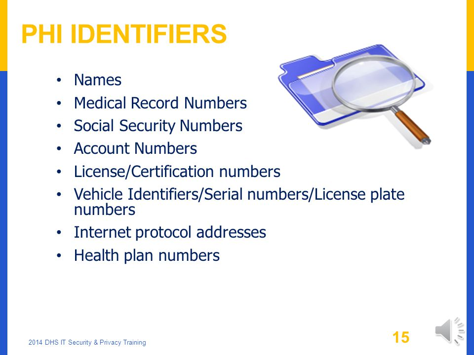 PHI Identifiers Names Medical Record Numbers Social Security Numbers