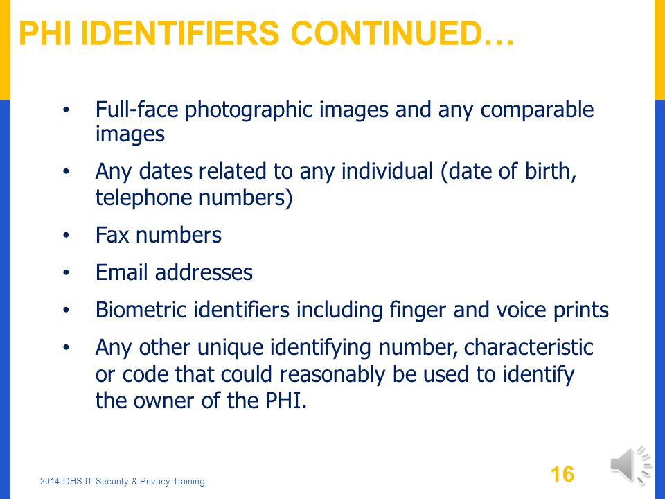 PHI Identifiers Continued…