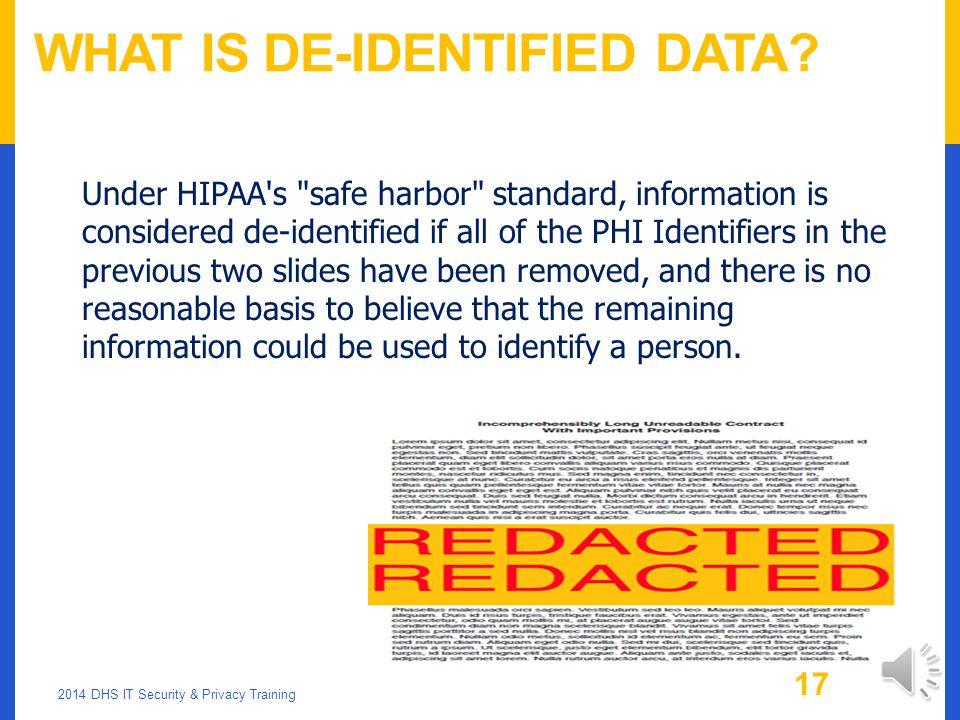 What is De-Identified Data