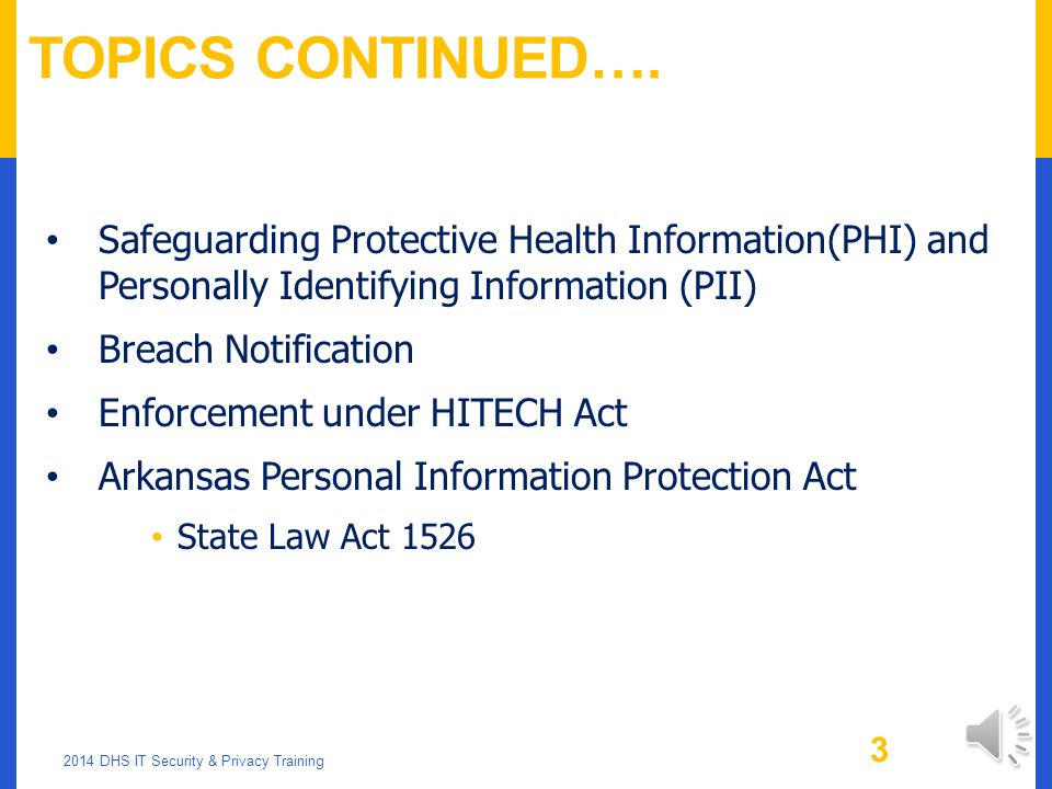 Topics Continued…. Safeguarding Protective Health Information(PHI) and Personally Identifying Information (PII)