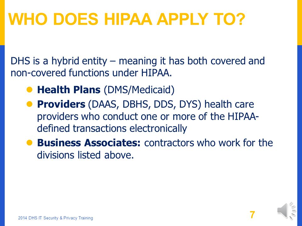 Who Does HIPAA Apply to DHS is a hybrid entity – meaning it has both covered and non-covered functions under HIPAA.