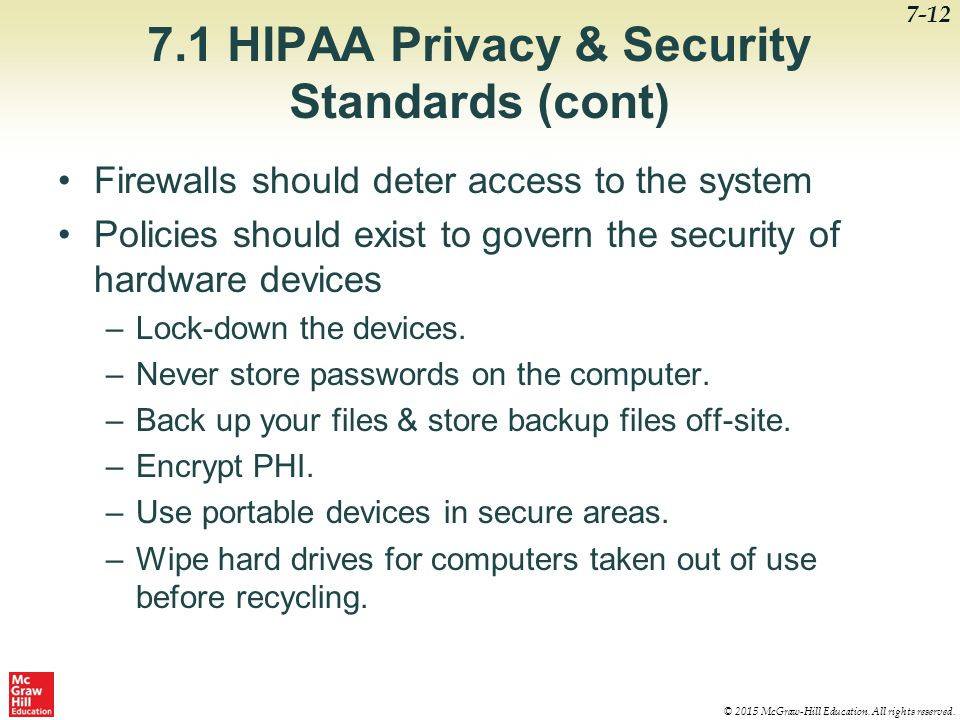 7.1 HIPAA Privacy & Security Standards (cont)