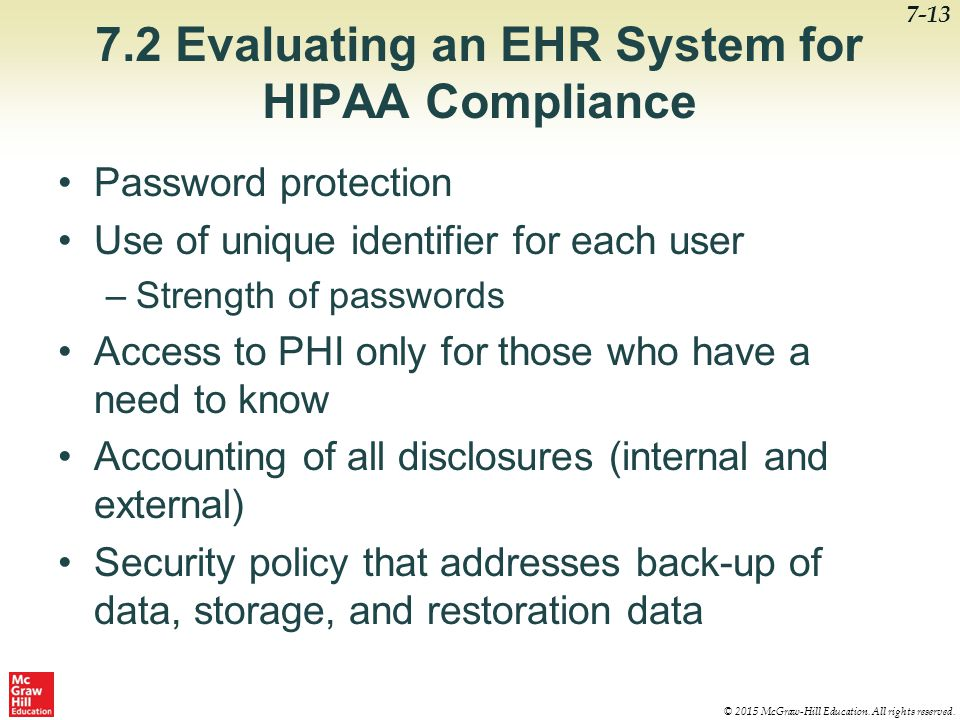 7.2 Evaluating an EHR System for HIPAA Compliance
