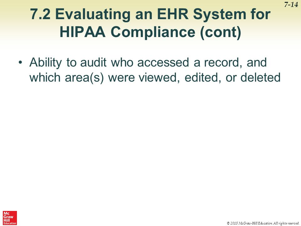 7.2 Evaluating an EHR System for HIPAA Compliance (cont)
