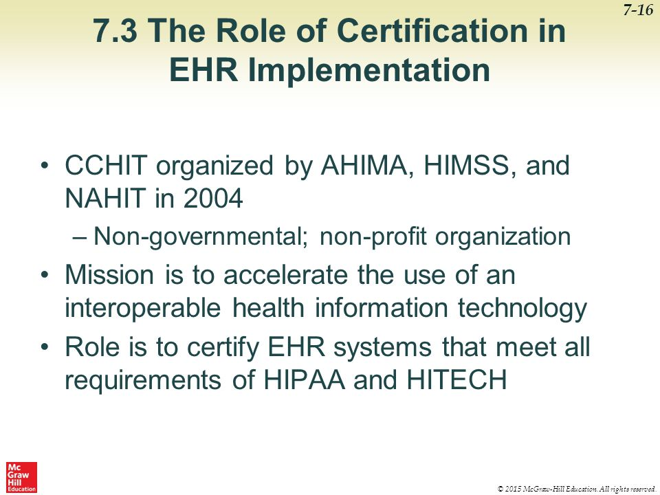 7.3 The Role of Certification in EHR Implementation