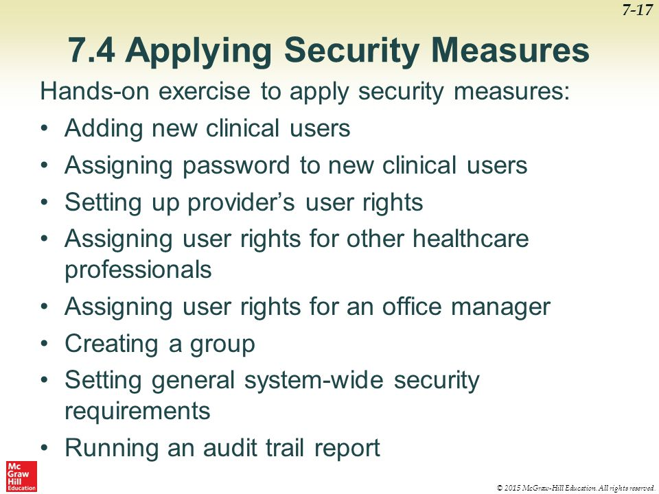 7.4 Applying Security Measures