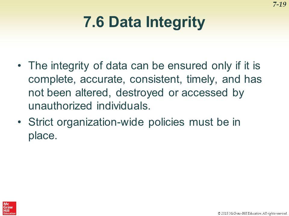 7.6 Data Integrity