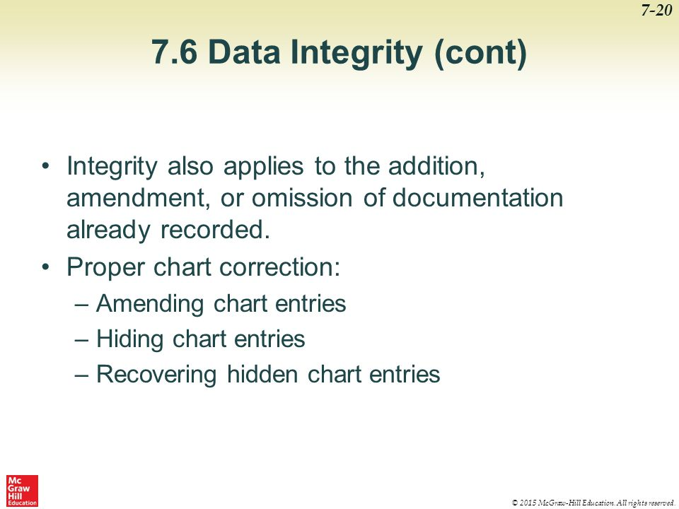 7.6 Data Integrity (cont) Integrity also applies to the addition, amendment, or omission of documentation already recorded.