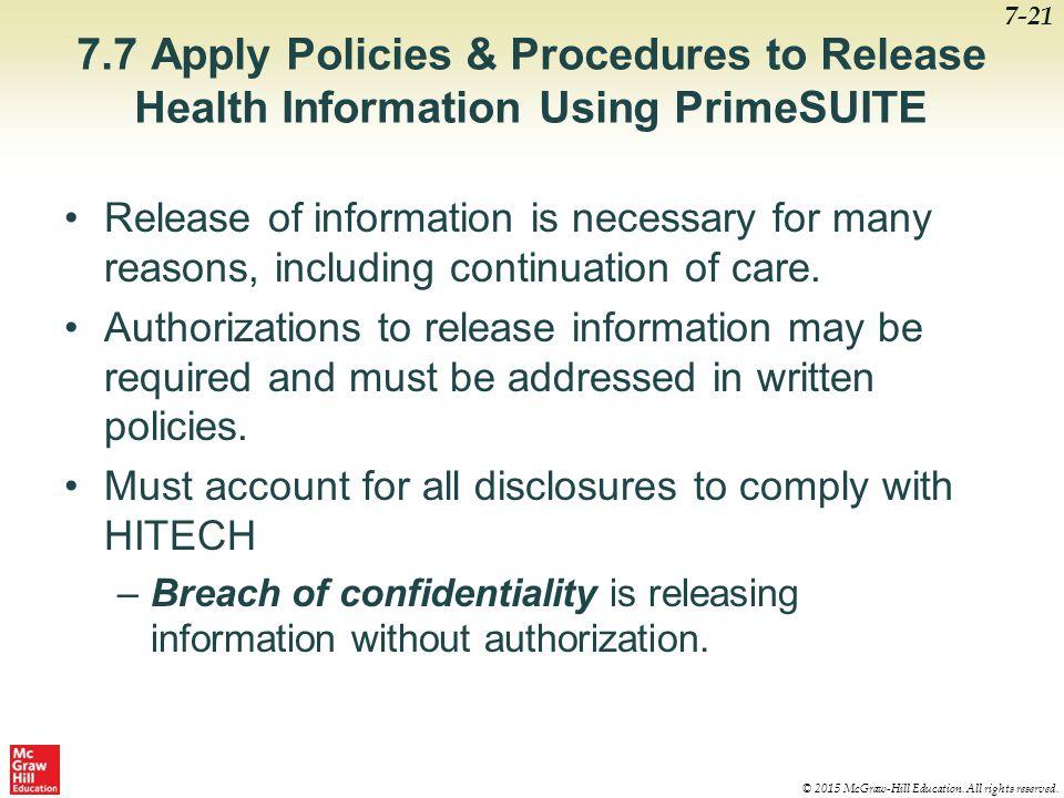7.7 Apply Policies & Procedures to Release Health Information Using PrimeSUITE