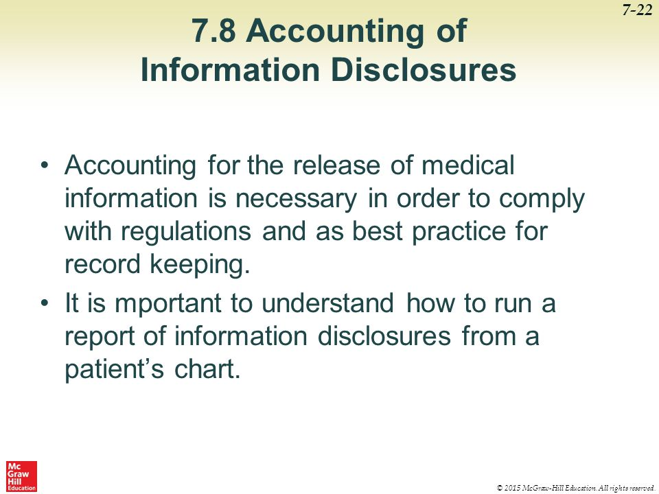 7.8 Accounting of Information Disclosures