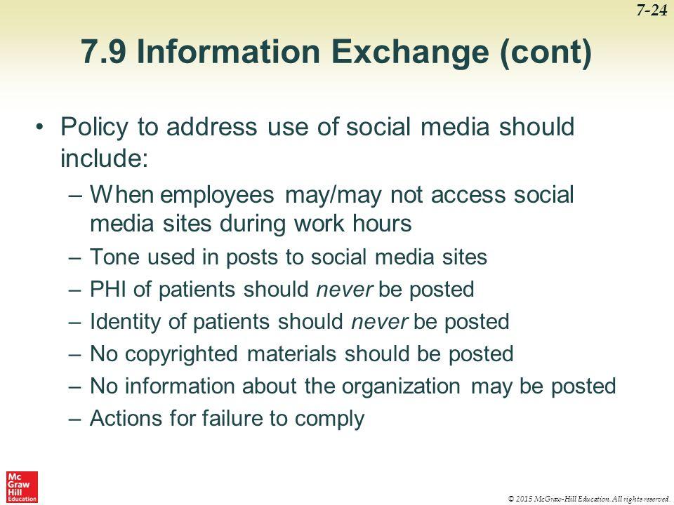 7.9 Information Exchange (cont)