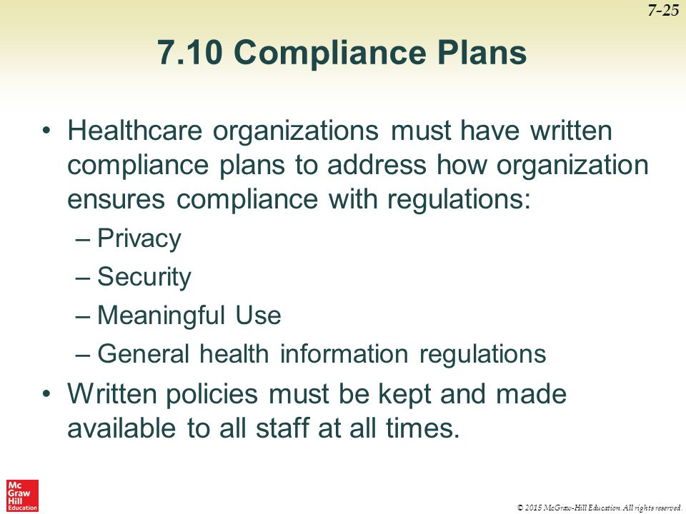 7.10 Compliance Plans Healthcare organizations must have written compliance plans to address how organization ensures compliance with regulations: