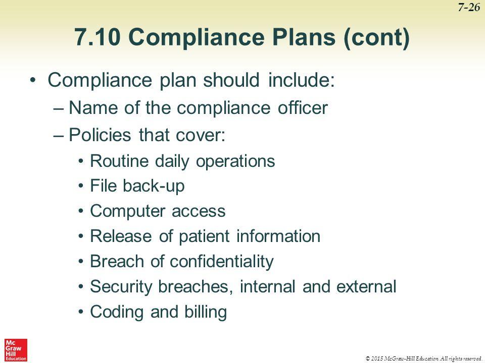 7.10 Compliance Plans (cont)