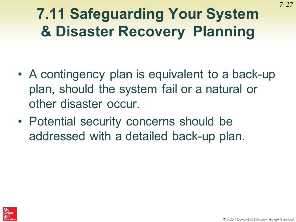 7.11 Safeguarding Your System & Disaster Recovery Planning