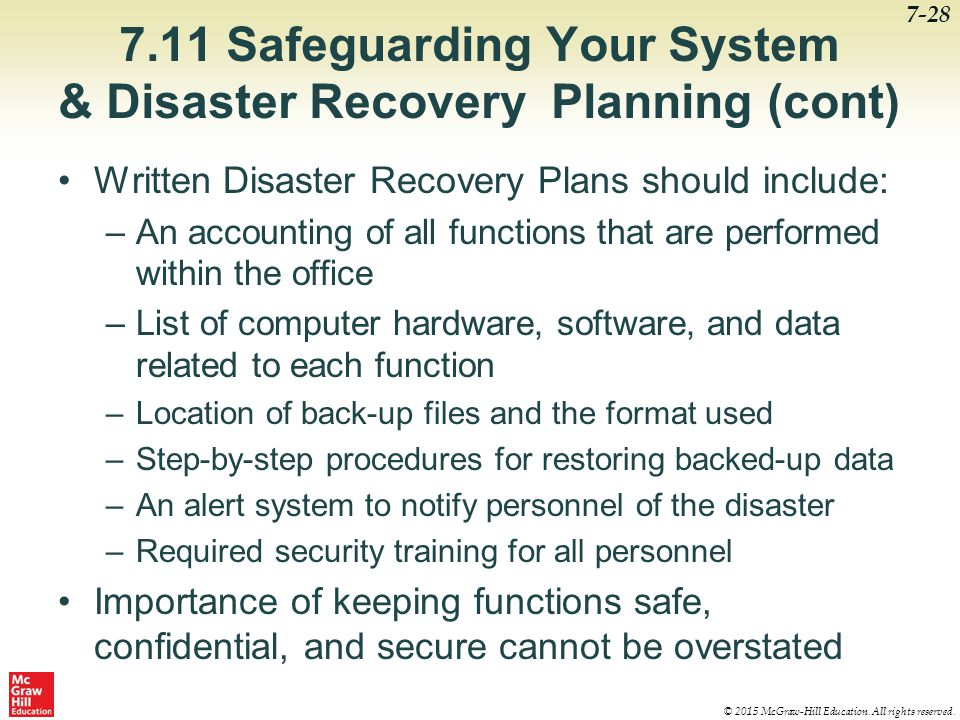 7.11 Safeguarding Your System & Disaster Recovery Planning (cont)