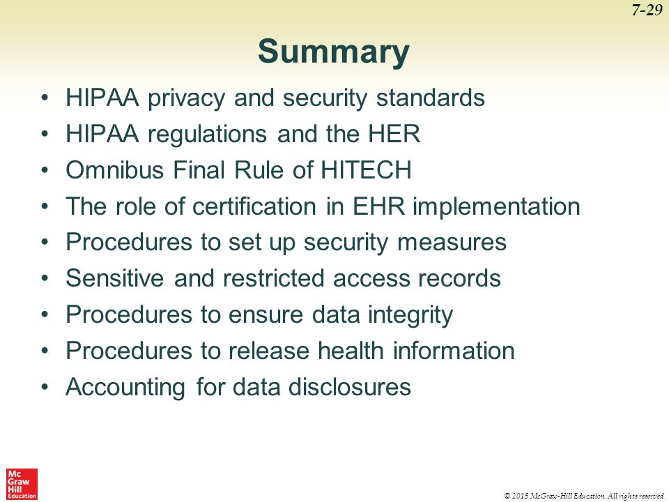 Summary HIPAA privacy and security standards