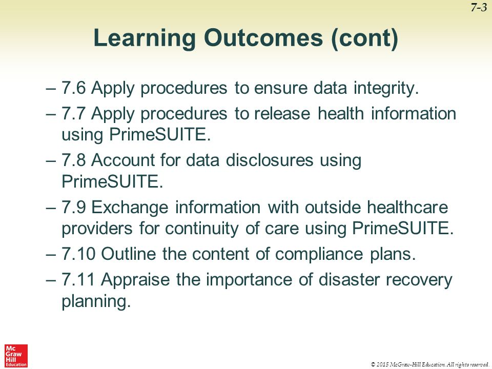 Learning Outcomes (cont)