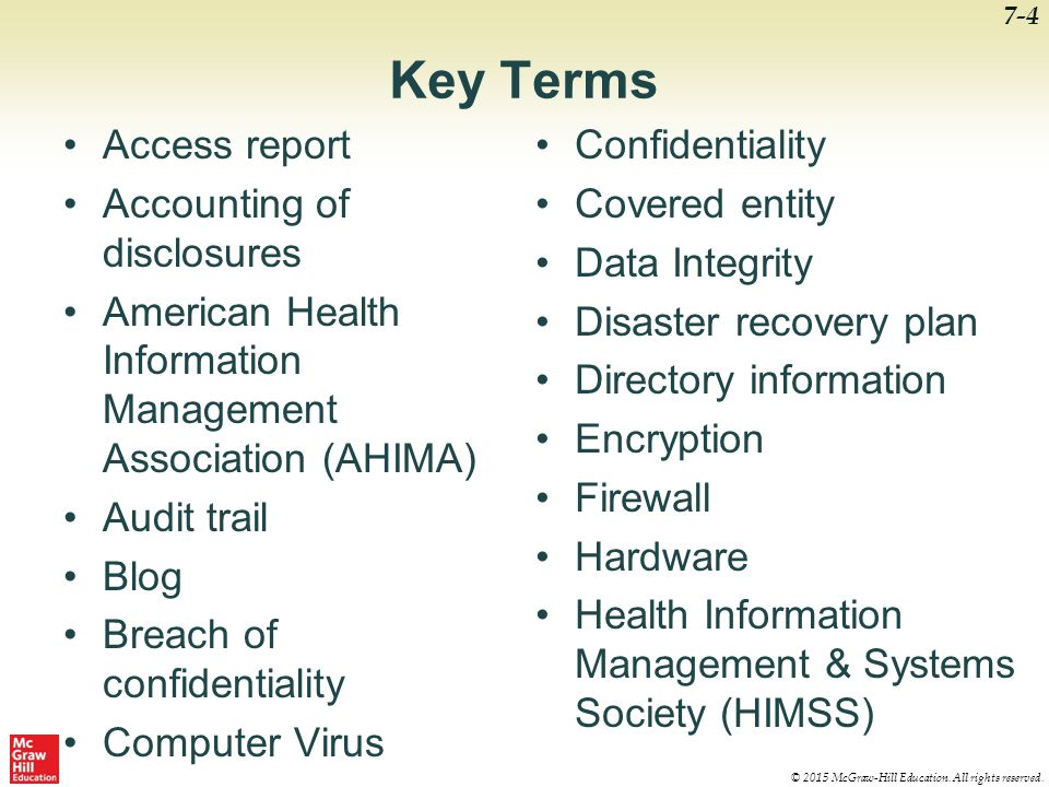 Key Terms Access report Accounting of disclosures