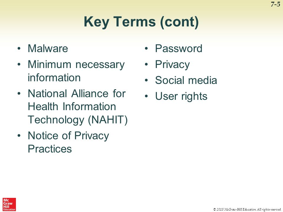 Key Terms (cont) Malware Minimum necessary information