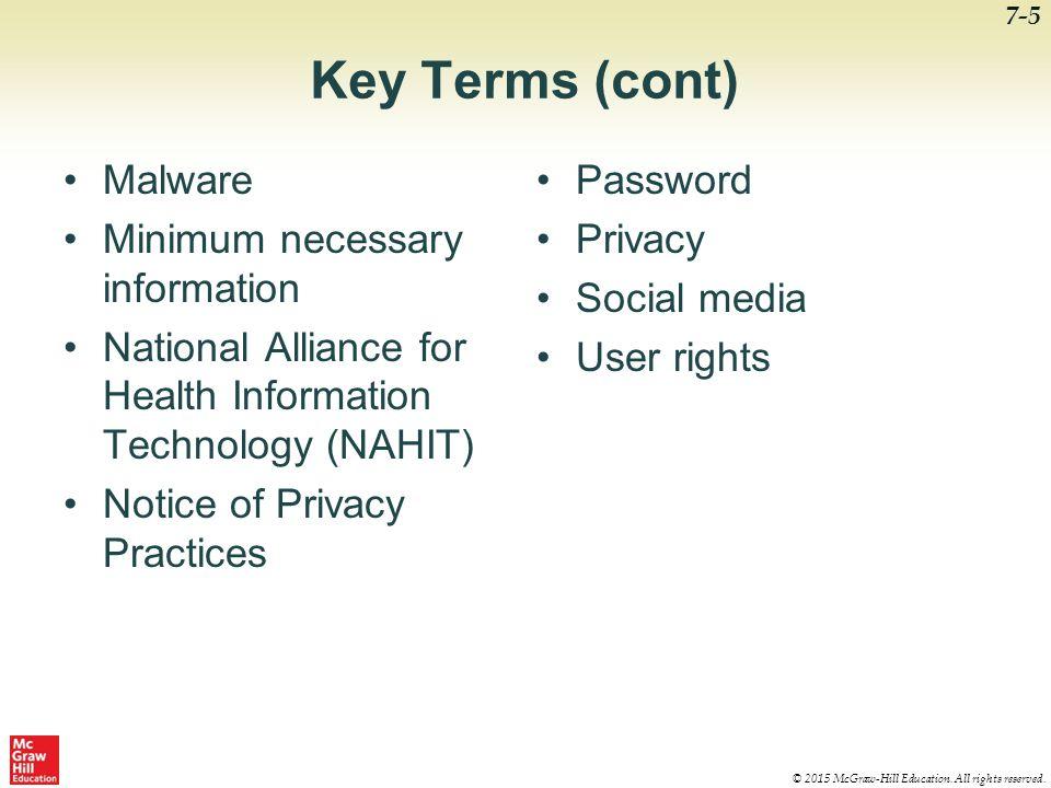 Key Terms (cont) Malware Minimum necessary information